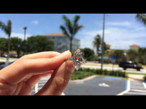 Over 4 Carat Marquise Cut Diamond Platinum Engagement Ring