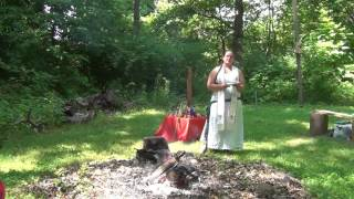 Rev. Jan Avende leads a scripted Summer Solstice ritual for Three Cranes Grove, ADF members in the Avestan hearth culture, honoring Ardvi Sura Anahita, the ...