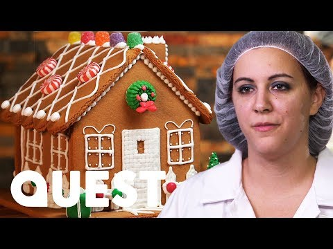 Making GINGERBREAD HOUSES! | Food Factory: The House that Santa Built