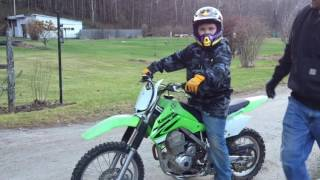 3. Daniels first ride on the KLX 140.
