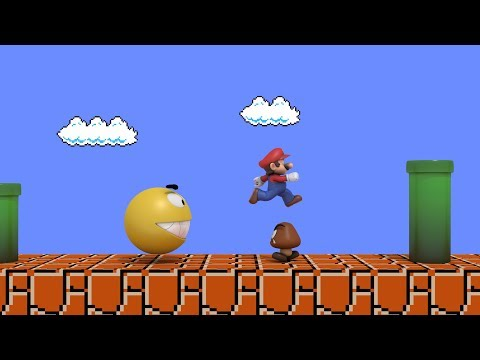 Pacman vs Super Mario CRAZY BATTLE (видео)