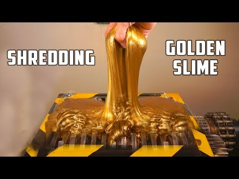 Sending 15 Pounds of Gold Slime Through an Industrial Shredder Is Quite Satisfying to