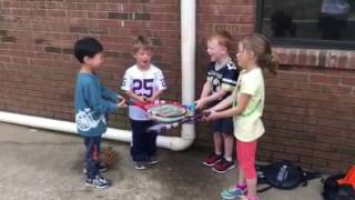 Kids at a local preschool excited about playing tennis!