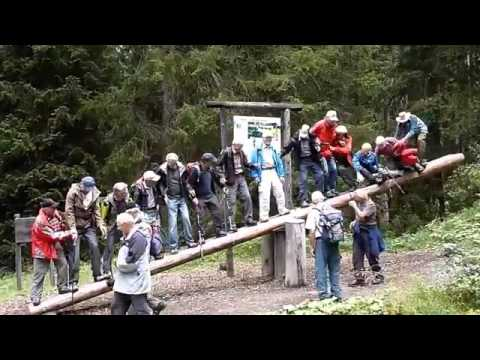 14 Older Gentlemen On a Giant See-Saw
