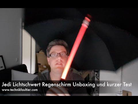 Jedi Lichtschwert Regenschirm Unboxing und kurzer Test