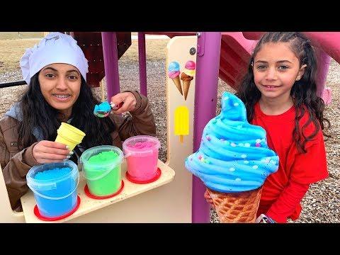 Heidi and Zidane Pretend Play selling Ice Cream
