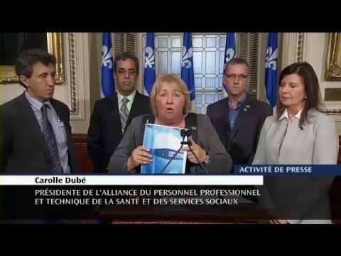Carolle Dubé défend les technologistes médicales en point de presse le 6 octobre 2016