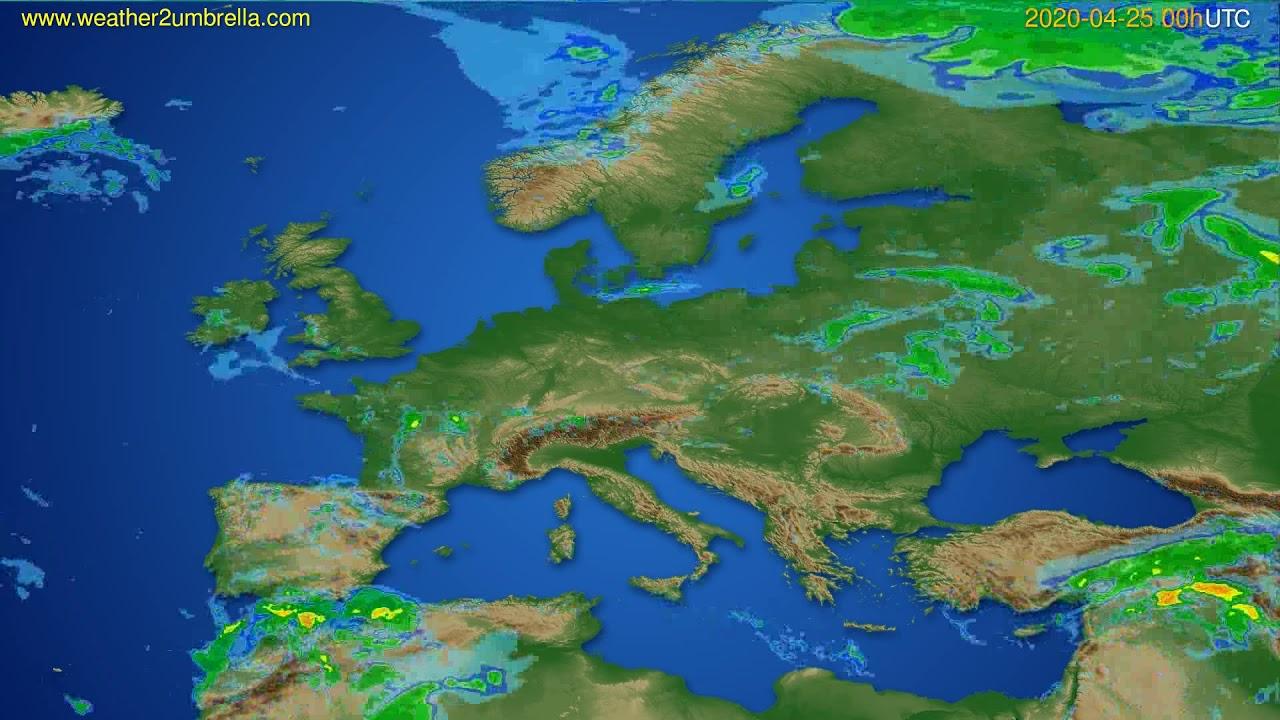 Radar forecast Europe // modelrun: 12h UTC 2020-04-24
