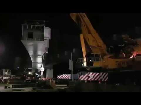 淡海輕軌金龍橋段G2A02B14夜間吊裝作業影片
