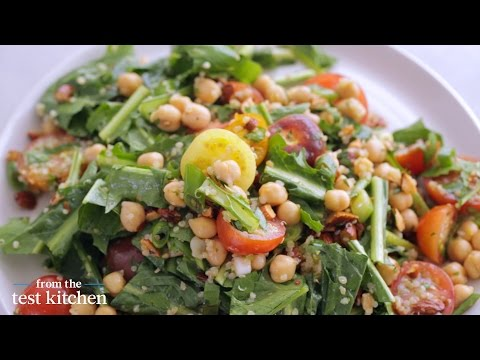 Marinated Chickpeas with Quinoa and Dandelion Greens - From the Test Kitchen