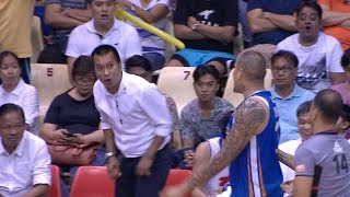 JR Quinahan and Coach Chito Victolero exchange heated words | PBA Philippine Cup 2018