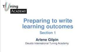 Preparing to Write Learning Outcomes. Section 1