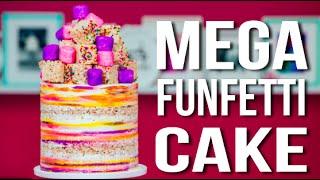 Video How To Make A MEGA FUNFETTI CAKE! Confetti Vanilla Cake with Sprinkle RICE KRISPIE TREATS! MP3, 3GP, MP4, WEBM, AVI, FLV September 2018