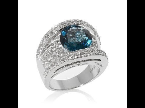 Colleen Lopez Blue Topaz and White Topaz Ring