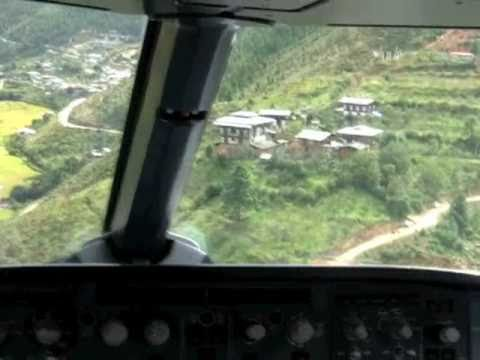 landing - Truly incredible! Paro, Bhutan in a A319. Actual landing filmed from Cockpit. Fast forward to minute 6 if you need to!
