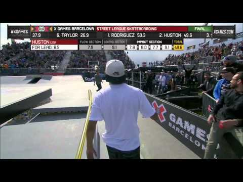 Final - Nyjah Huston's final run in Street League Series final at X Games Barcelona 2013.