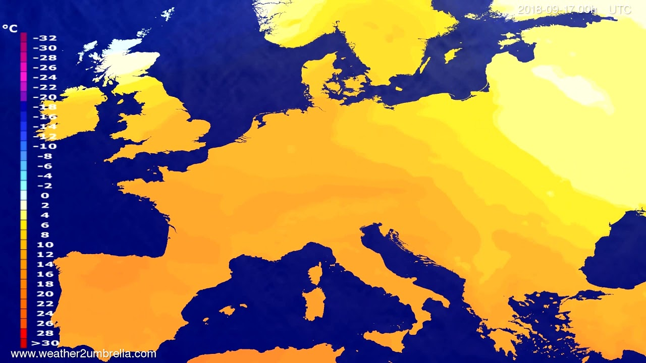 Temperature forecast Europe 2018-09-14