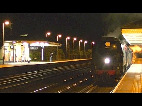 34067 Tangmere takes a late night drink at Brookwood whil...