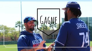 Former Dodgers closer Eric Gagne participates in Spring Training workouts at Camelback Ranch in Glendale, Arizona. Gagne threw a brief bullpen session in the morning, shagged fly balls from batting practice with other Dodger pitchers and chatted with current Dodger closer Kenley Jansen. Gagne pitched in the World Baseball Classic for Canada, and is attempting to make a comeback on a minor-league deal with the Dodgers.Read me at http://dodgersdigest.com/author/staci...  and  http://www.hardballtimes.com/author/s...Follow me @StacieMWheeler on Twitter https://twitter.com/StacieMWheelerSubscribe to DishingUpTheDodgers!Go Blue!