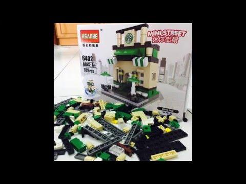 Hsanhe 6404 Mini Street M Fast Food Restaurant Educational City Building Blocks Toys Set