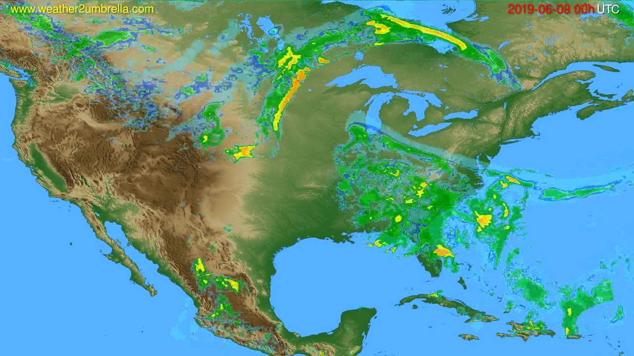 Radar forecast USA & Canada // modelrun: 12h UTC 2019-06-08