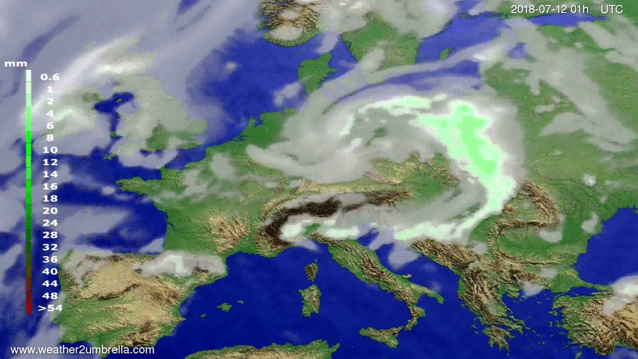 Precipitation forecast Europe 2018-07-09
