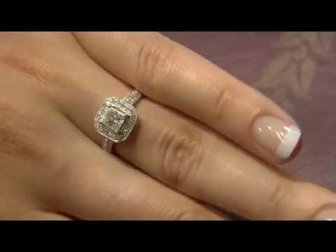 VR1035 Princess cut Halo Engagement ring
