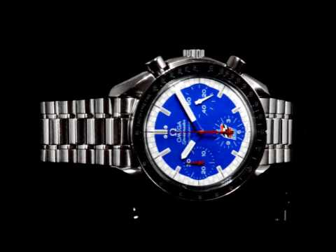 Men's Stainless Steel Omega 'Speedmaster Cart' Automatic Chronograph with Racing Schumacher Blue Dial