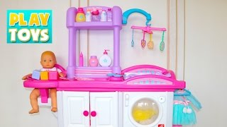 Baby Doll delux nursery care kids toy set. Baby doll toys for kids to play pretend play. Change diaper for baby doll, feed baby doll on baby chair and baby toys ...