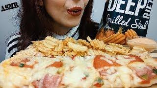 ASMR eating: Baguette Pizza (Cheese, Bacon, Ham, Salami) & Crispy Chips | Whispering