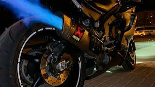 6. 2019 Yamaha R6 Akrapovic Full Exhaust  *Flames, Fly by and PURE SOUND*