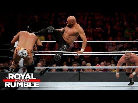 Luke Gallows bodyslams both members of The Revival: Royal Rumble 2018 Kickoff Match