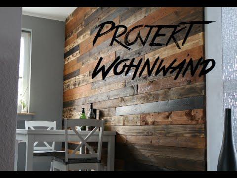 DIY Design Wohnwand aus Europaletten pallet wood wall Palettenholz