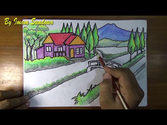 Menggambar-pemandangan-alam-desa