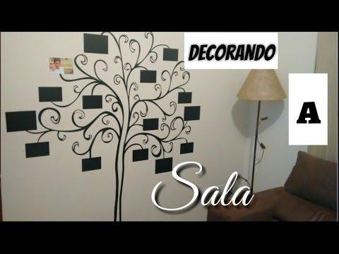 Imagens de papel de parede - DECORANDO A SALA  INSTALANDO PAPEL DE PAREDE - MURAL DE FOTOS EM FORMATO DE ÁRVORE