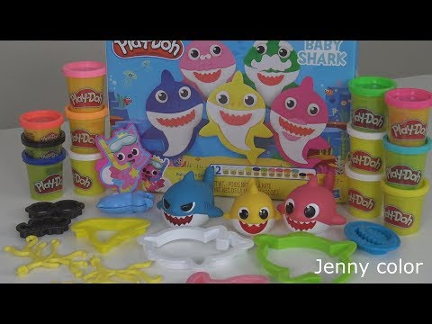 Jenny color Speed DIY Play Doh Pinkfong Baby Shark Set with 12 Play Doh Cans