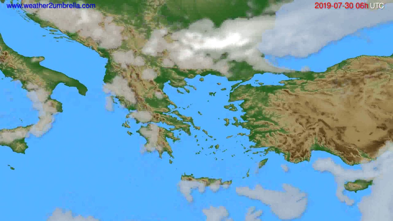 Cloud forecast Greece // modelrun: 00h UTC 2019-07-28