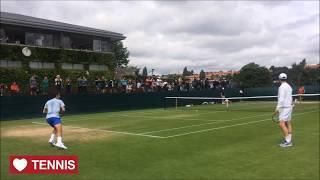 Roger Federer Training Wimbledon 2017, Court Level View. Roger Federer practice at Wimbledon 2017 with Robin Haase. Roger Federer is preparing to start his c...