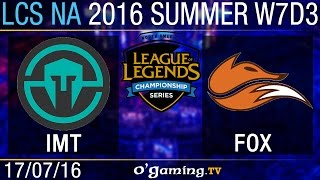 Immortals vs Echo Fox - LCS NA Summer Split 2016 - W7D3