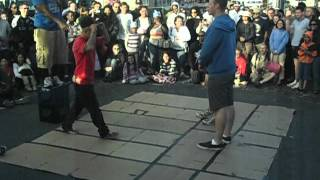 Young Break Dancers, street performers in San Francisco show their moves and skills for an audience in Fisherman's Warf.
