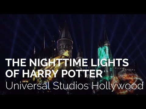 The Nighttime Lights at Hogwarts Castle Night Show at Universal Studios Hollywood