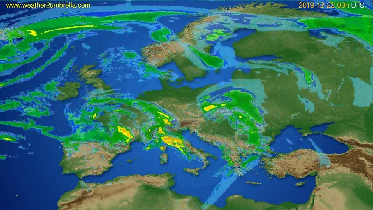 Radar forecast Europe // modelrun: 12h UTC 2019-12-21