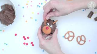 Cupcakes décorés en rennes de Père-Noël