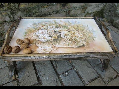 decoupage con carta di riso e pasta in rilievo