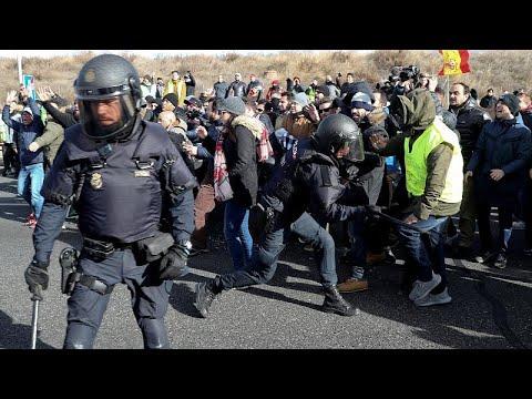 Madrid: Verkehrschaos - Proteste und Ausschreitungen  ...