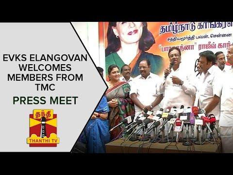EVKS-Elangovan-Welcomes-Members-from-TMC-Press-Meet-Thanthi-TV