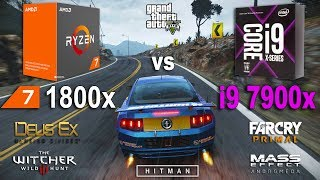 i9 7900x vs Ryzen 7 1800x Test in 7 Games (GTX 1070)Games:Grand Theft Auto V Hitman 2016 - 02:05Mass Effect Andromeda - 04:05 The Witcher 3 - 05:24Deus Ex Mankind Divided - 06:52Project Cars - 07:46Far Cry Primal - 09:15System: Windows 10AMD Ryzen 7 1800x 3.6GhzGigabyte GA-AB350-Gaming 3RAM 3200MhzIntel i9 7900x 3.3GhzASUS PRIME X299-ARAM 3200MhzGTX 1070 8Gb16Gb RAM