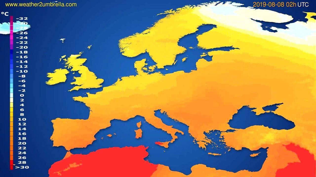 Temperature forecast Europe // modelrun: 00h UTC 2019-08-05