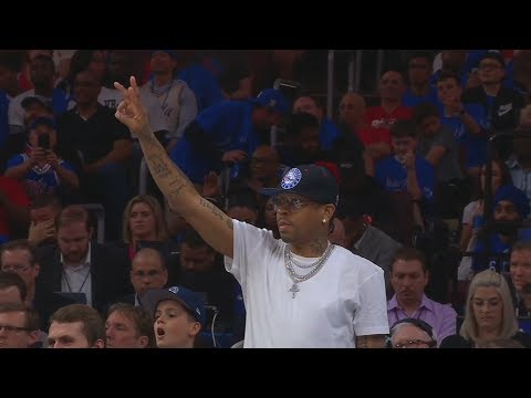 Allen Iverson Coaches The Sixers Team While Courtside!