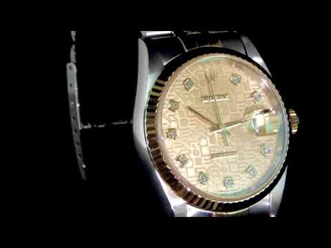 Men's 18k Yellow Gold Rolex Datejust Automatic Wristwatch with Diamonds